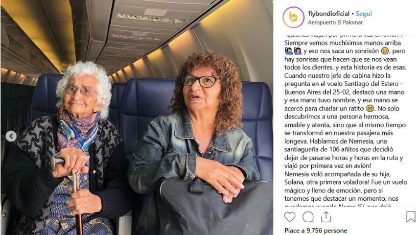 Post di Flybondi sul primo volo in aereo di Nemesia