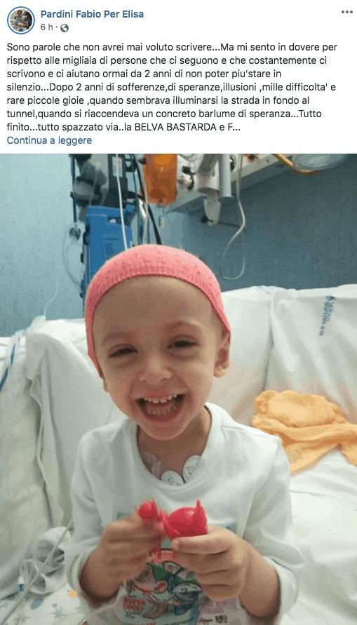 Il post di Facebook pubblicato nelle scorse ore per aggiornare sulla sua situazione