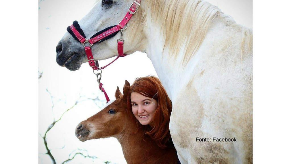 Ragazza sorridente insieme ad un cavallo bianco e ad un puledro marrone