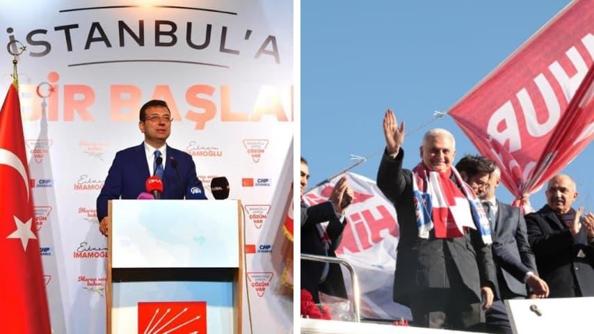 I due candidati a Istanbul. A destra Ekrem Imamoğlu, a sinistra Binali Yildirim. Immagini: Ekrem Imamoğlu/Facebook; Binali Yildirim/Twitter