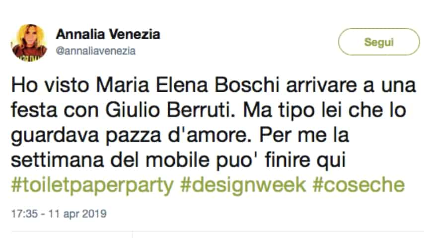 Il Tweet di Annalia Venezia, giornalista di Grazia. Fonte: Annalia Venezia/Twitter
