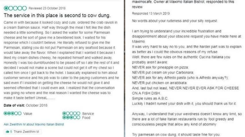 Il botta e risposta su TripAdvisor fra cliente e chef (Foto Screenshot da TripAdvisor)
