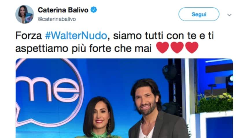 Il messaggio di Caterina Balivo su Twitter. Fonte: Caterina Balivo/Twitter
