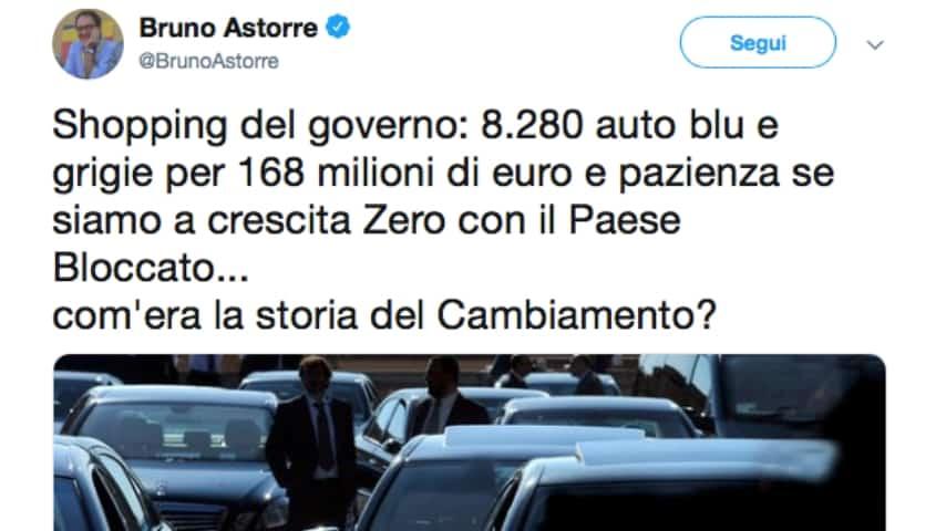 Il post di Bruno Astorre, senatore PD, su Twitter. Fonte: Bruno Astorre/Twitter