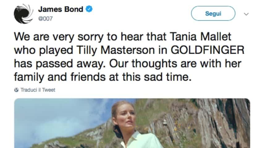 Il post di James Bond su Twitter. Fonte: James Bond/Twitter