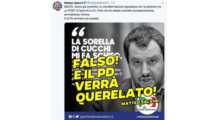 Il post di Matteo Salvini su Twitter. Fonte: Matteo Salvini/Twitter