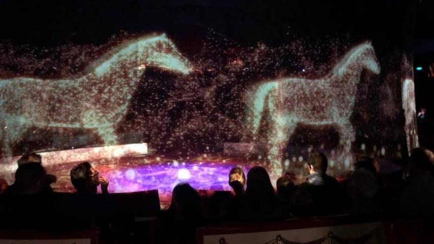 Ologrammi di cavalli durante uno spettacolo del circo Roncalli