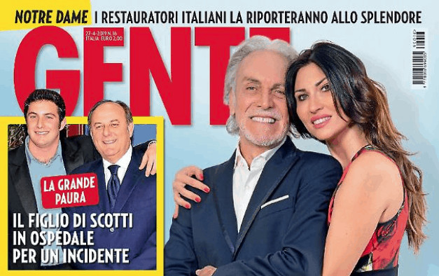La copertina del settimanale Gente con Gerry Scotti e il figlio