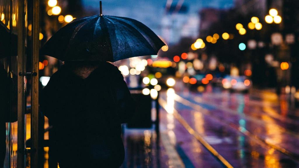 donna di spalle con ombrello