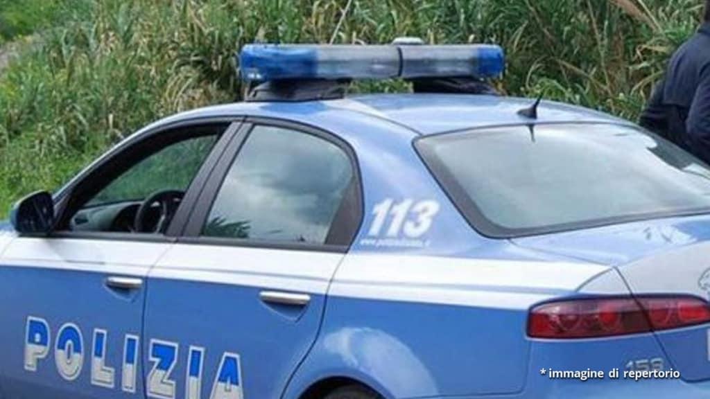 auto della polizia in campagna