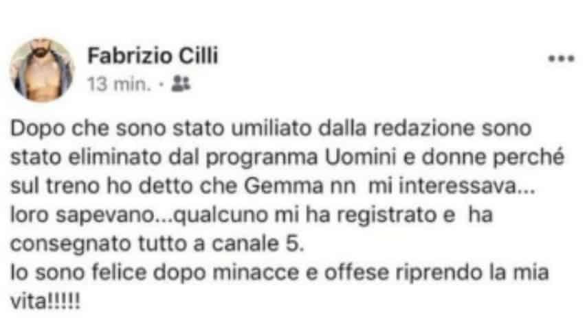 Il post di Fabrizio Cilli su Facebook