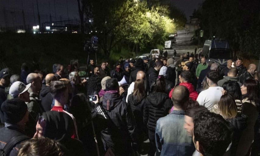 protesta contro i rom a roma