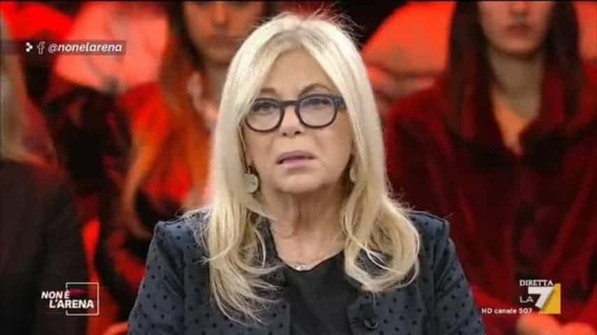 Rita Dalla Chiesa ripresa durante l'ospitata nel programma di Massimo Giletti, Non è l'Arena