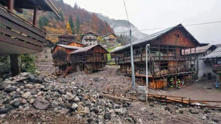 Rocca Pietore durante l'alluvione