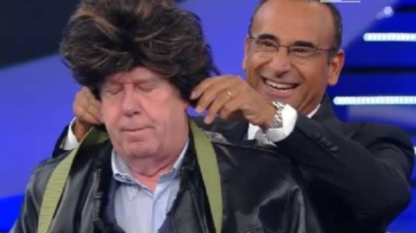 """Claudio Lippi con Carlo Conti al """"Tale e Quale Show"""", dove è stato elemento della giuria per 5 edizioni e poi ha partecipato come concorrente"""