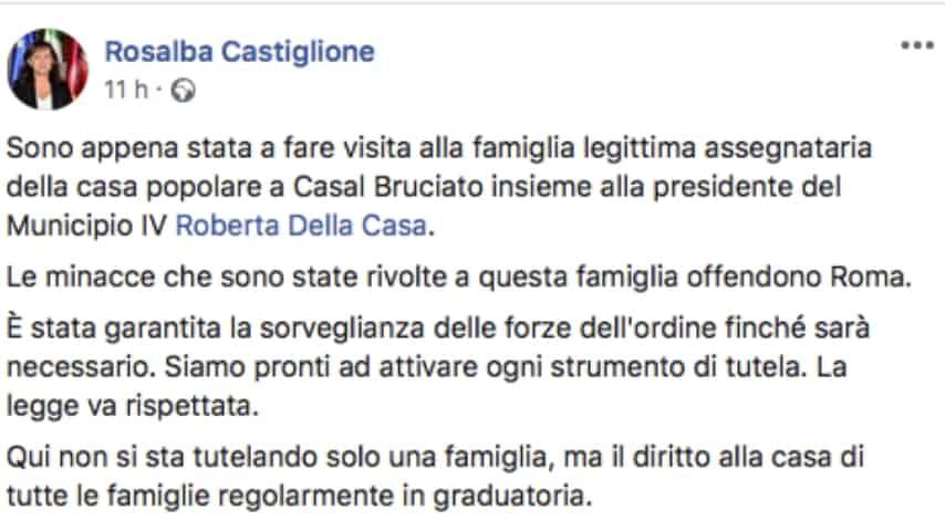 Il post dell'assessore Castiglione. Fonte: Rosalba Castiglione/Facebook