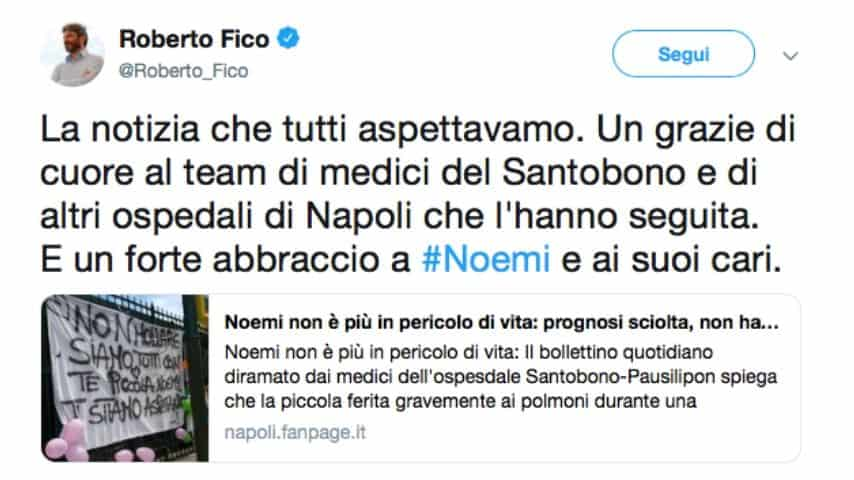 Il tweet di Roberto Fico, presidente della Camera dei deputati. Fonte: Roberto Fico/Twitter