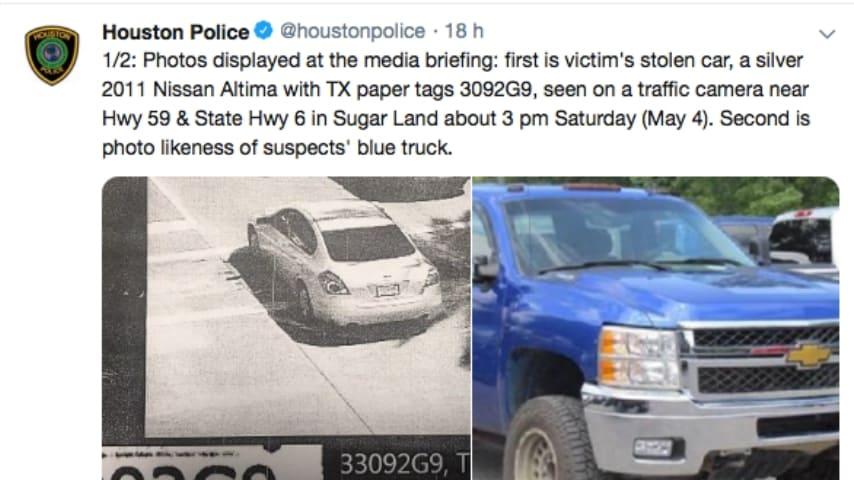 La macchina di Darion Vince e il camioncino blu dei rapitori. Fonte: Houston Police/Twitter
