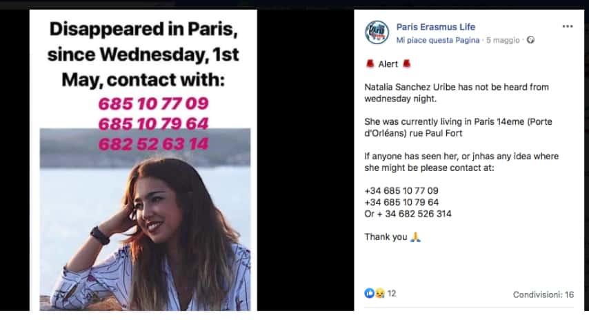 L'appello che si sta diffondendo in rete. Immagine: Paris Erasmus Life/Facebook