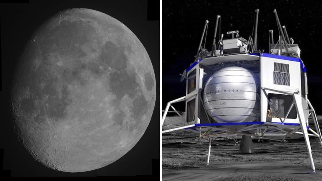 la luna e la navicella spaziale firmata amazon