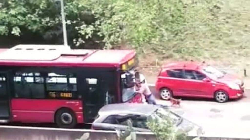 autobus dell'atac tenta di investire un pedone a roma