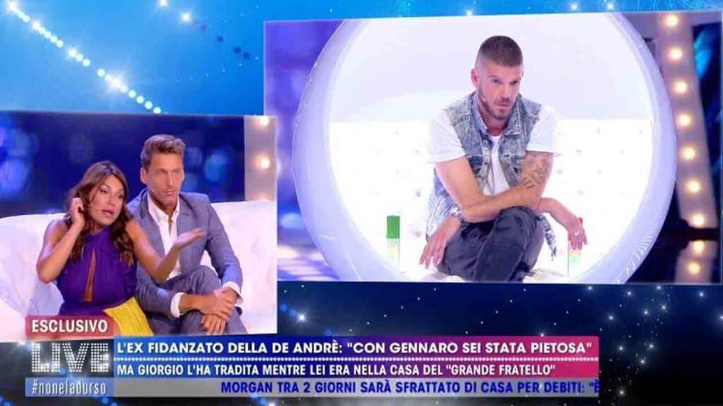 Francesca De André, Gennaro Lillio e Giorgio Tambellini a Live Non è la d'Urso