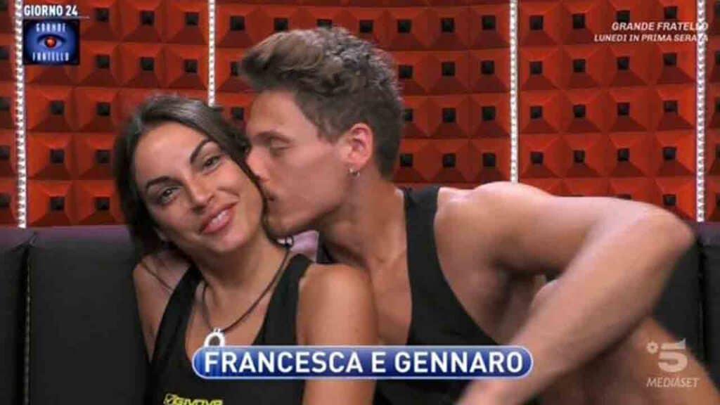 Francesca De André e Gennaro Lillio in confessionale al Grande Fratello