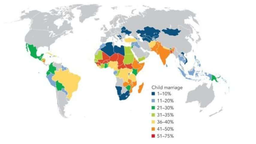 Statistiche sul fenomeno dei matrimoni minorili (Fonte Democratic and Health Surveys, International Center for Research on Women, United Nations Children's Fund)