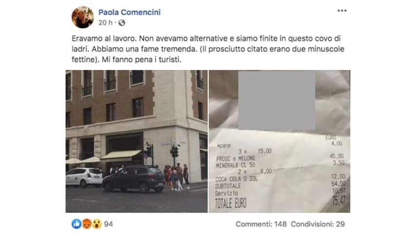 Il post su Facebook pubblicato da Paola Comencini