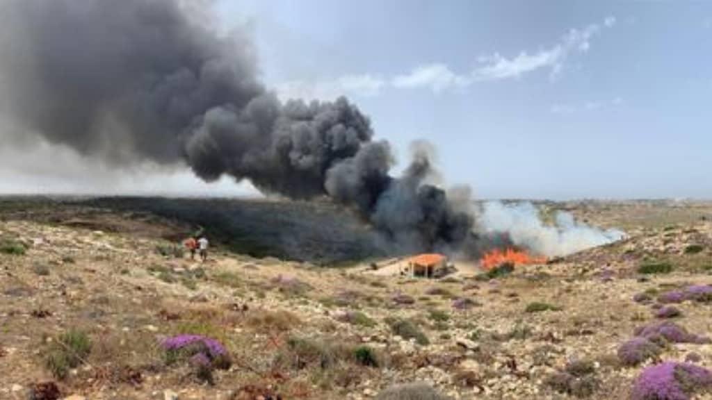 incendio in una discarica