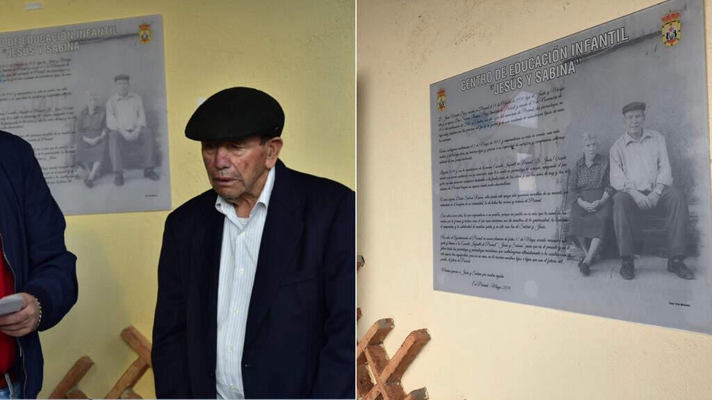 A sinistra: Jesus Vicente Díaz. A destra: una foto della targa commemorativa