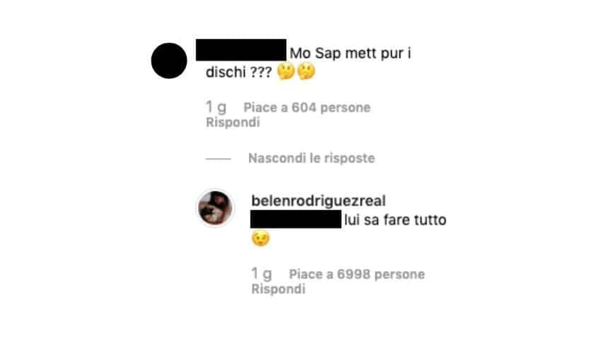 La risposta di Belen Rodriguez al commento in dialetto napoletano di uno dei suoi follower