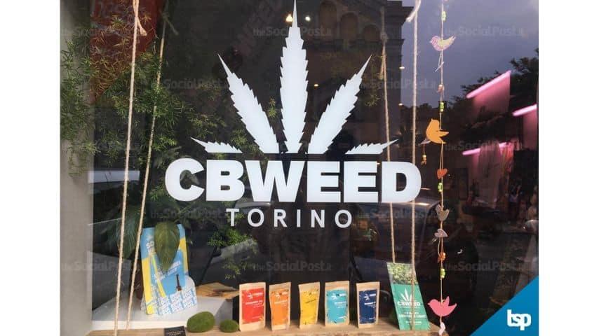 La vetrina del negozio Cbweed Shop Torino di Marco Paviotti