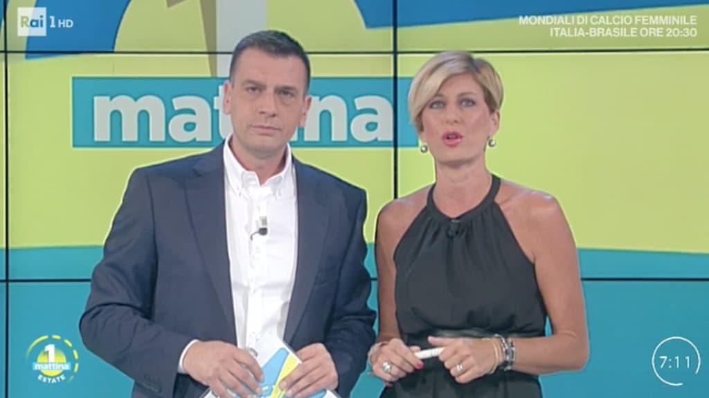Roberto Poletti e Valentina Bisti, conduttori di Unomattina estate. Foto da Twitter
