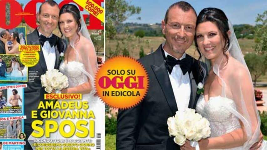 Amadeus e Giovanna Civitillo, la foto esclusiva delle nozze. Fonte: Settimanale Oggi