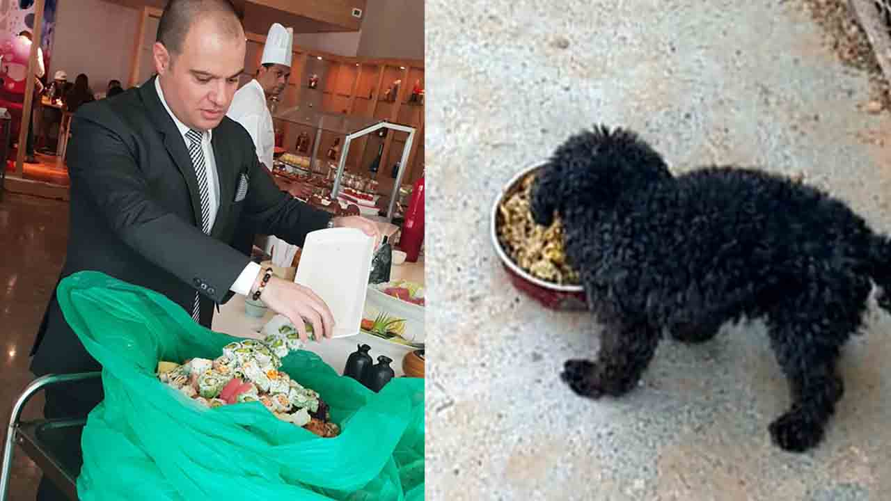 Chef J Gourmet dona avanzi a un cane