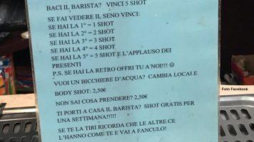 Il cartello incriminato del bar di Treviso (Foto Facebook Andrea Sales)