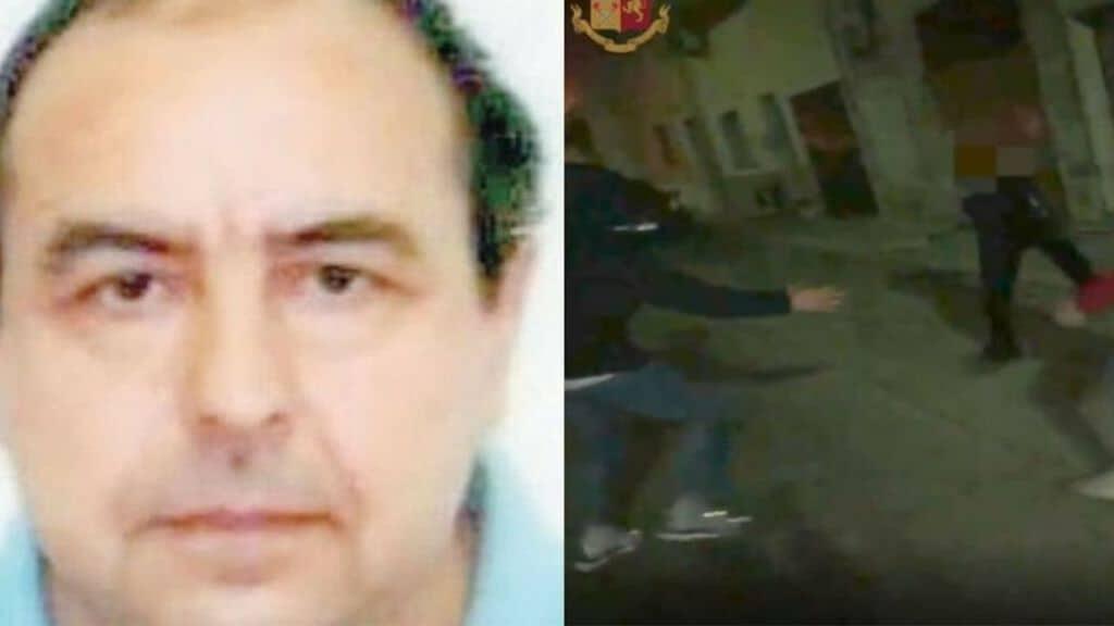 Antonio Stano e un'immagine del video delle percosse subite