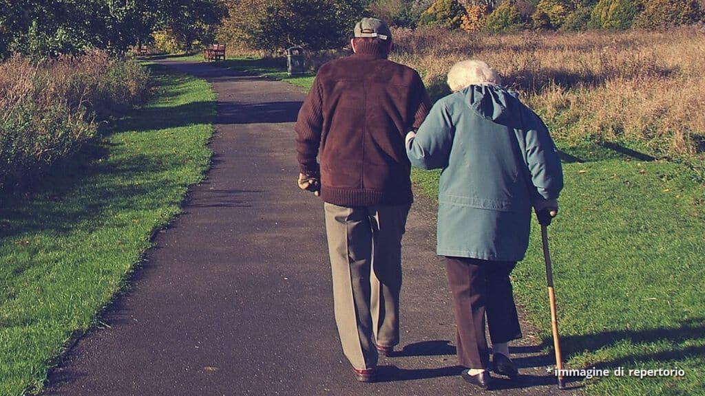 coppia di anziani a passeggio su un vialetto di campagna