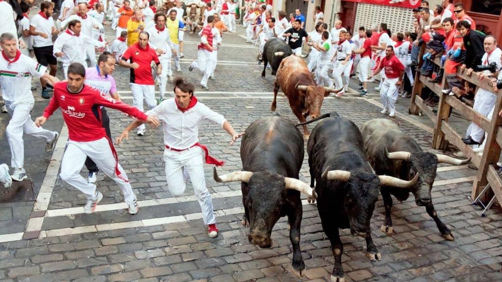 tori che corrono nella corsa di pamplona