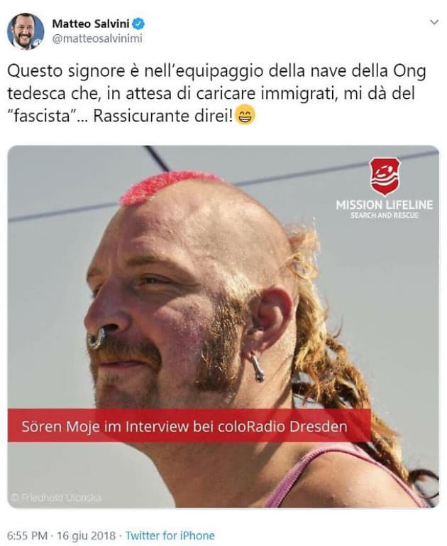 foto tweet salvini