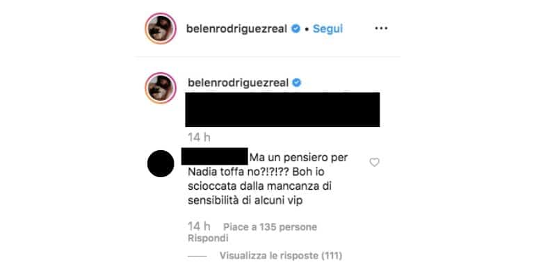 Belén Rodriguez riceve critiche per non aver commentato la morte di Nadia Toffa