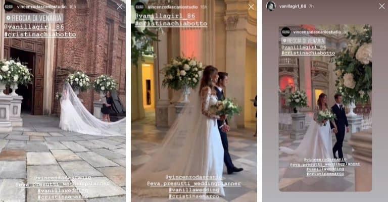 Alcuni scatti del matrimonio di Cristina Chiabotto e Marco Roscio nelle storie di Instagram dello studio fotografico che ha seguito l'evento. Fonte: Vincenzo Dascanio Studio/Instagram
