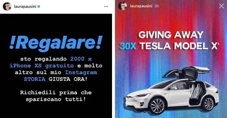 Alcune delle immagini del profilo hackerato di Laura Pausini. Fonte: Laura Pausini/Instagram