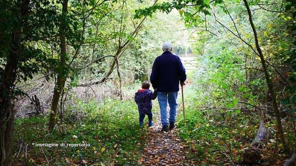nonno e nipote mano nella mano