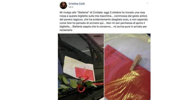 Il post di Cristina per trovare Stefania. Fonte: Sei di Cividale se.../Facebook