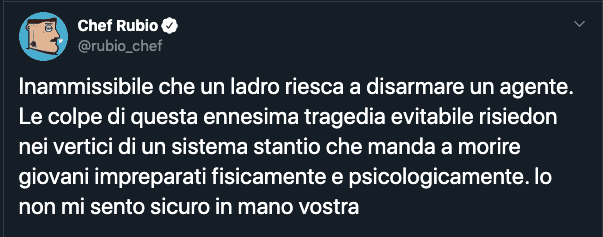 Il Tweet di Chef Rubio