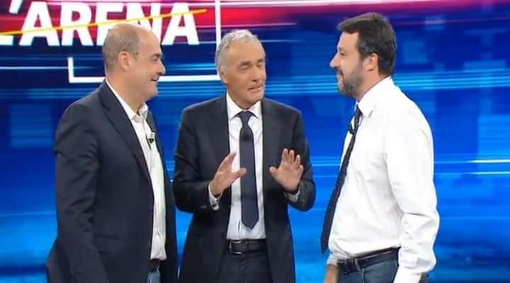 Nicola Zingaretti e Matteo Salvini da Massimo Giletti
