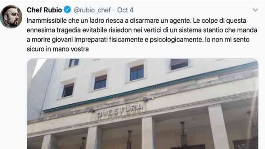 Tweet di Chef Rubio
