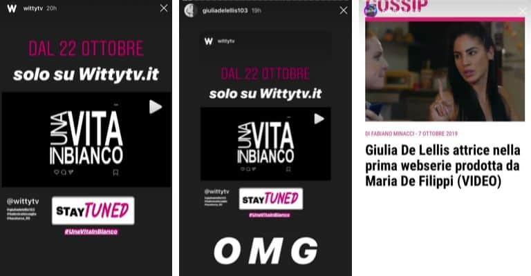 L'annuncio della web serie in cui Giulia De Lellis sarà una dei protagonisti. Fonte: WittyTv, BitchtF, Giulia De Lellis/Instagram